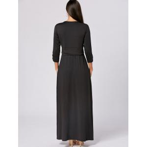 Empire Waist V Neck Long Maxi Dress -