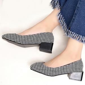 Checkered Square Toe Slip On Chunky Pumps -