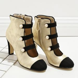 Side Zip Color Block Ankle Boots -