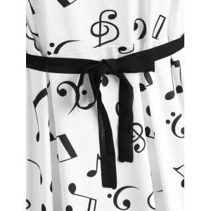 Retro Plus Size Musical Notes Printed Dress -