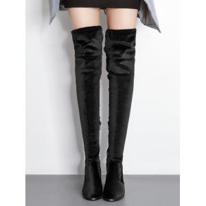 Pointe Toe Block Heel Over The Knee Boots -