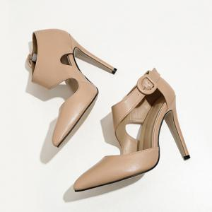 Point Toe Ankle Buckle Strap Pumps -