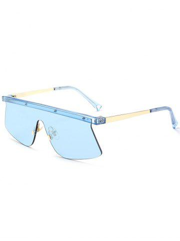 Affordable Mirror Semi Rimless Shield Sunglasses