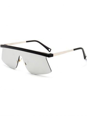 Fashion Mirror Semi Rimless Shield Sunglasses - SILVER  Mobile