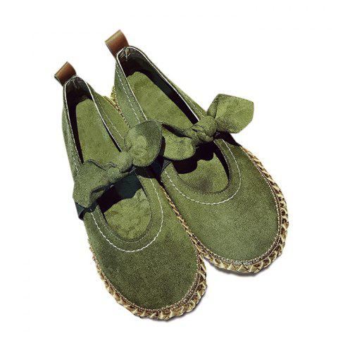 Sale Stitching Bowknot Elastic Band Flat Shoes - 39 ARMY GREEN Mobile