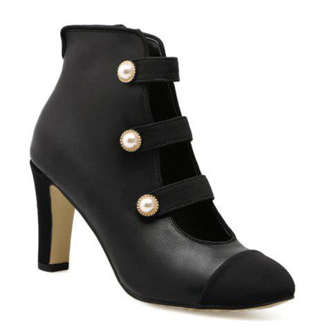 Side Zip Color Block Ankle Boots