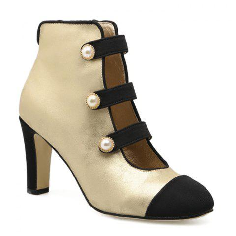 Side Zip Color Block Ankle Boots Abricot 39