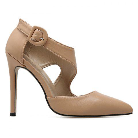 Latest Point Toe Ankle Buckle Strap Pumps - 39 APRICOT Mobile