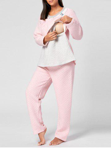 Trendy Cotton Winter Nursing Pajamas Set - M LIGHT PINK Mobile