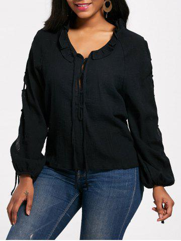 Lace Up Long Sleeve Half Button Blouse