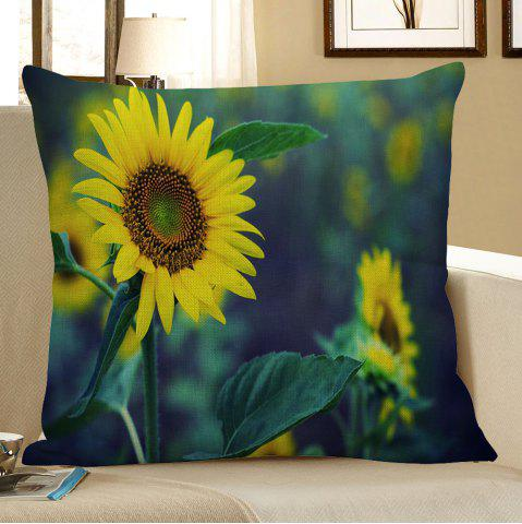 Chic Sunflower Printed Square Pillow Case - W18 INCH * L18 INCH GREEN AND YELLOW Mobile