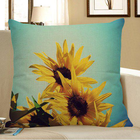 Store Sunflowers Pattern Linen Pillow Case - W18 INCH * L18 INCH YELLOW Mobile