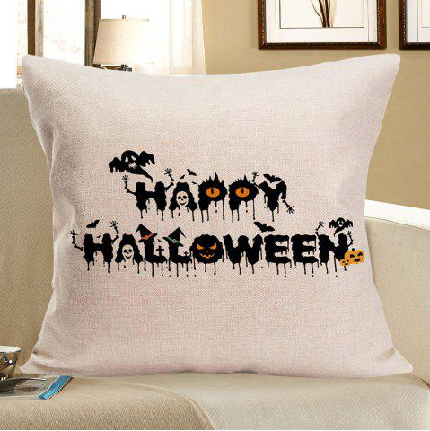 Sale Happy Halloween Skulls Printed Pillow Slip - W18 INCH * L18 INCH BLACK Mobile