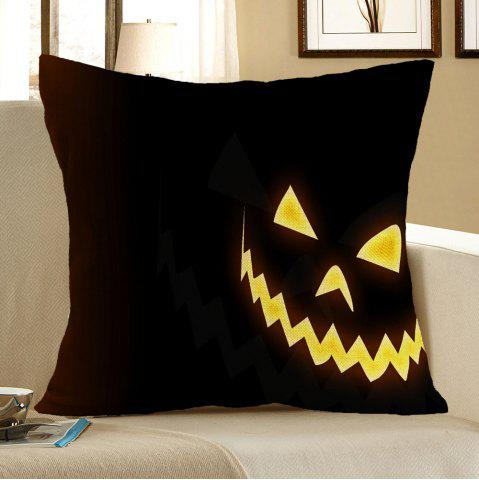 Shops Halloween Pattern Linen Pillow Case - W18 INCH * L18 INCH YELLOW AND BLACK Mobile