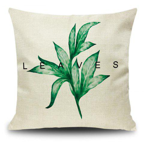 Hot Leaf Print Decorative Linen Pillow Case GRASS GREEN 45*45CM