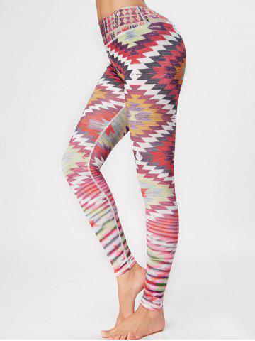 Online Geometric Skinny High Waisted Gym Leggings COLORFUL S