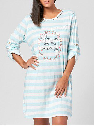 Shop Striped Cotton Nursing Pajamas Dress - M CLOUDY Mobile
