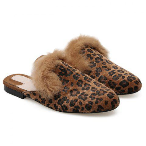 Online Faux Fur Leopard Mules Shoes