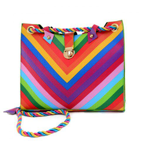 Hot Striped Rainbow PU Leather Shoulder Bag - COLORFUL  Mobile