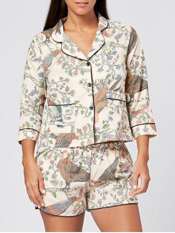 Best Floral Shirt Pajama with Shorts COLORMIX L