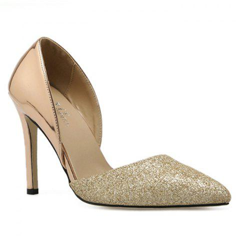 Online Point Toe Stiletto Heel Metallic Pumps