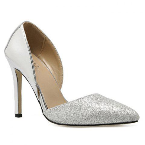 Shop Point Toe Stiletto Heel Metallic Pumps - 39 SILVER Mobile
