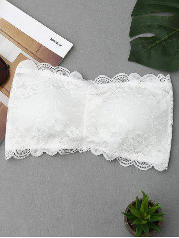 Cheap Lace Scalloped Tube Bra WHITE ONE SIZE