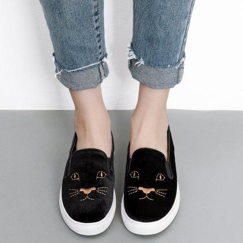 Trendy Embroidery Velvet Slip On Sneakers BLACK 37
