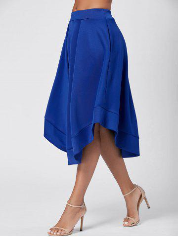 Sale High Waist Flared Midi Skirt - 2XL BLUE Mobile