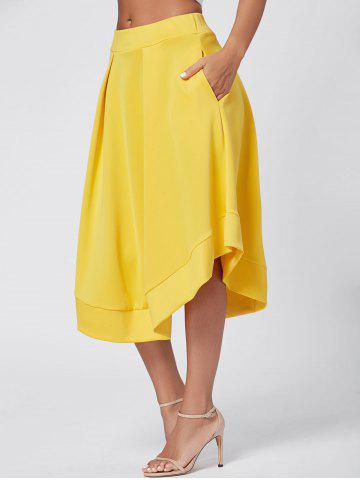Affordable High Waist Flared Midi Skirt YELLOW L