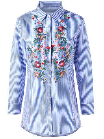 Striped Floral Embroidered Tunic Shirt