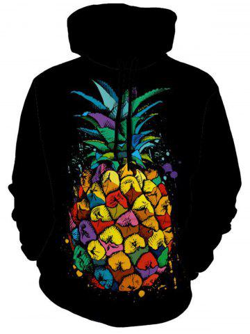 Hoodie d'impression d'ananas aux fruits tropicaux Noir 2XL