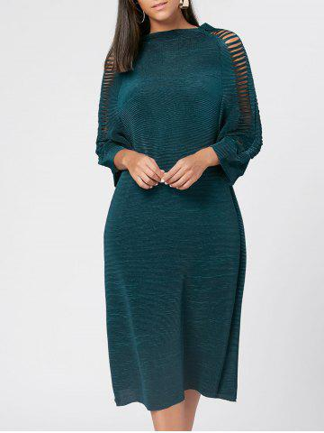 Affordable Ribbed Distressed Long Sleeve Dress - ONE SIZE GREEN Mobile
