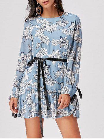 Store Chiffon Long Sleeve Floral Dress CLOUDY S