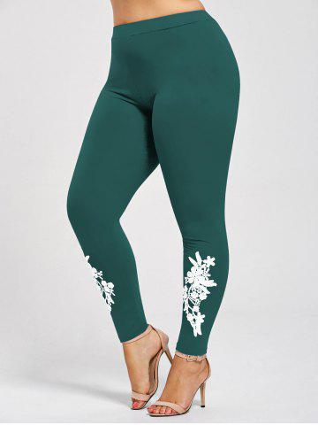 Outfit Plus Size Appliqued Heather Skinny Leggings JADE GREEN 5XL
