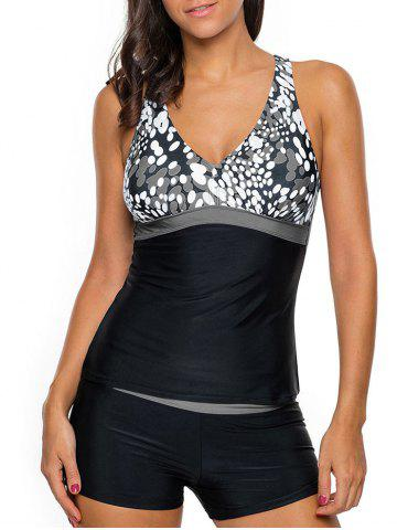 Trendy Cross Back Printed Tankini Set GRAY S