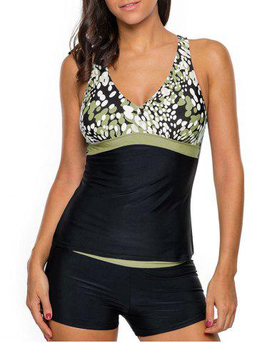 Outfit Cross Back Printed Tankini Set - XL GREEN Mobile