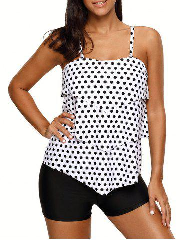 Hot Polka Dot Tiered Tankini Set WHITE L