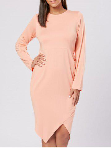 New Draped Slit Bodycon Party Dress - L ORANGEPINK Mobile