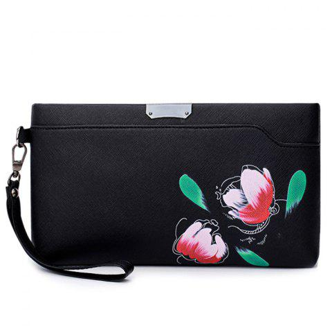 Shops PU Leather Hand Painted Wristlet Bag