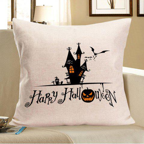 Buy Halloween Castle Printed Throw Pillow Case - W18 INCH * L18 INCH BLACK Mobile