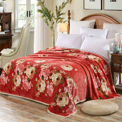 Peony Bedroom Soft Floral Blanket Anko- rouge Double