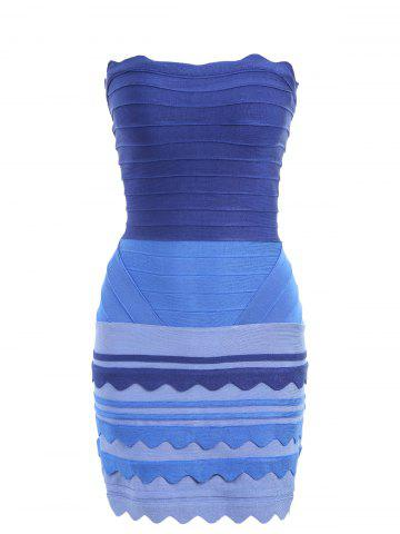 Night Out Ombre Color Tube Bandage Dress Bleu S