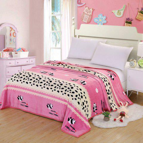Shop Bedroom Soft Panda Pattern Throw Blanket - DOUBLE PINK Mobile