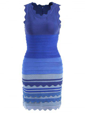 Chic Ombre Color Night Out Bandage Dress BLUE M