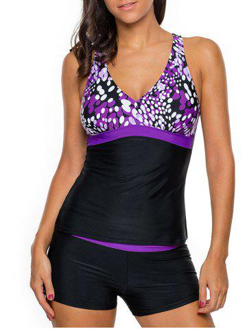 Unique Cross Back Printed Tankini Set - M LIGHT PURPLE Mobile
