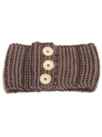 Online Crochet Warm Button Elastic Hair Band - KHAKI  Mobile