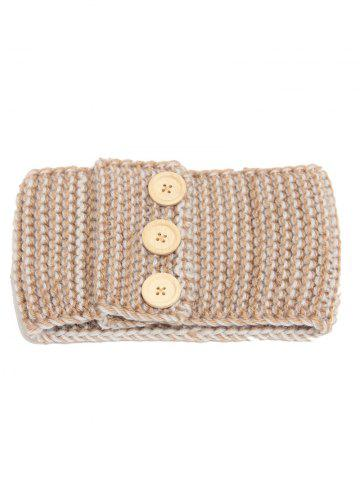 New Crochet Warm Button Elastic Hair Band CAMEL