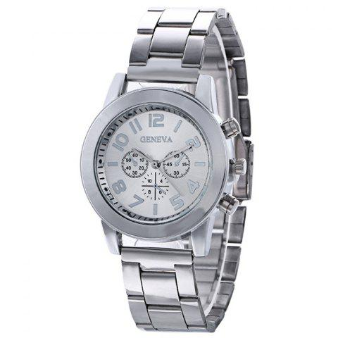 Chic Steel Strap Number Quartz Analog Watch - SILVER  Mobile