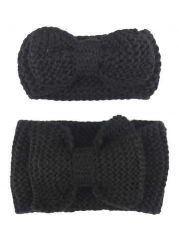 Buy Crochet Bows Elastic Mom and Kid Hair Band Set BLACK